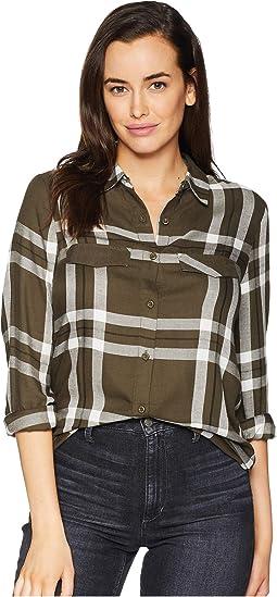 Long Sleeve 2 Flap Pocket Plald Button Down Shirt