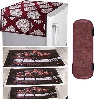 Kuber Industries PVC 3 Pieces Fridge Mats, 1 Piece Handle Cover and 1 Piece Fridge Top Cover (Maroon)-CTKTC14567