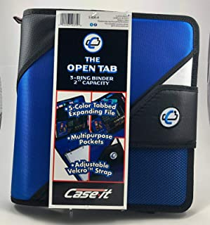 "Case-It The Open Tab, 3-O Ring 2"" Capacity Strap Binder W/Tab File, Black, Features Strap Binder, Inside Mesh Pockets, 5-C..."