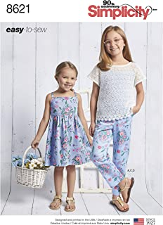 Simplicity Sewing Pattern D0913 / 8621 - Child's and Girls' Dress, Top, Pants and Camisole, HH (3-4-5-6)