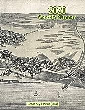 Planificador semanal 2020: Cedar Key, Florida (1884): Portada del mapa panorámico vintage