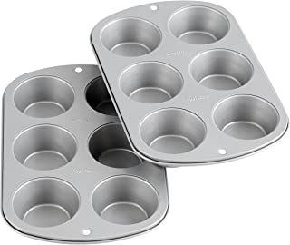 Wilton Recipe Right Non-Stick 6-Cup Standard Muffin Pan, Set of 2, Silver