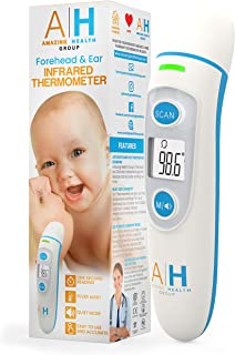 New Digital Infrared Baby Thermometer by AMAZING HEALTH GROUP - Fast Accurate Scanning of Forehead and Ear with Fever Alert - Moms LOVE the EASE of USE- Works on Infants, Kids, Adults - F D A Approved