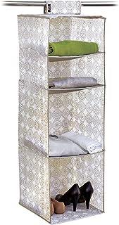 Domopak Living 8001410074249 Rangement 4 Compartiments Elle, Plastique, Blanc/Beige, 33 x 33 x 103 cm