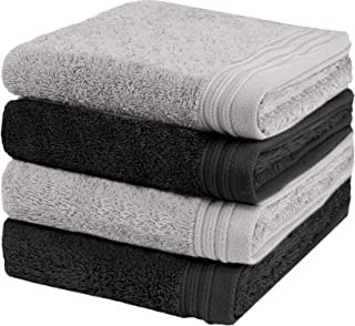"""Weidemans Premium Towel Set of 4 Hand Towels 18"""" x 30"""" Color: Black and Silver 