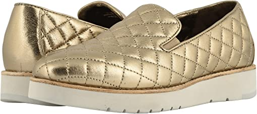 Gold Italian Metallic Glove Leather