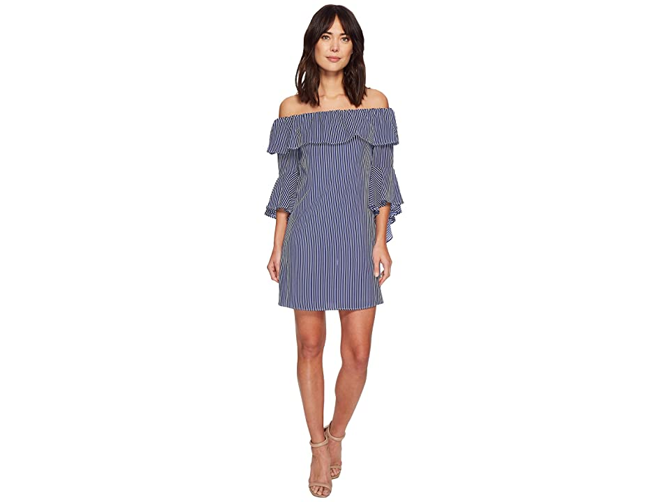 CeCe Celia Off the Shoulder Stripe Dress (Blue Abyss) Women