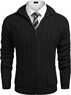 COOFANDY Mens Cardigan Sweater Casual Slim Fit Stand Collar Full Zip Up Cable Knitted Sweater