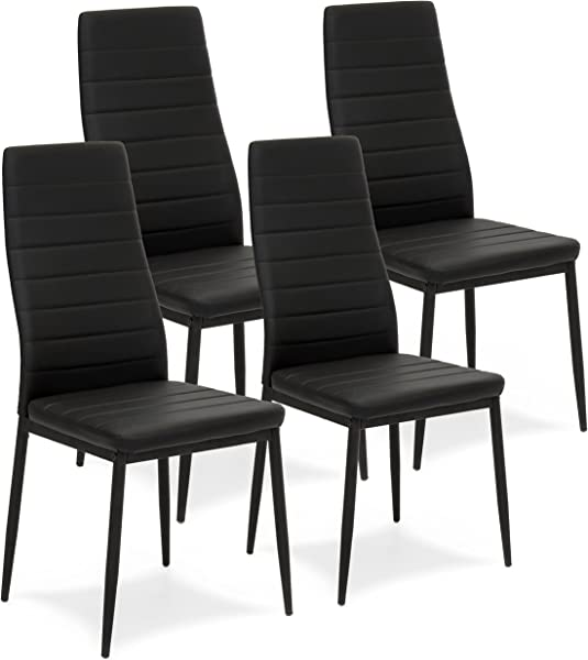 Best Choice Products Set Of 4 Modern High Back Faux Leather Dining Chairs W Metal Frame Black