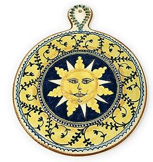 CERAMICHE D'ARTE PARRINI- Ceramica italiana artistica, sottopentola decorazione sole, dipinto a mano, made in ITALY Toscana