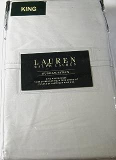 Set of 2 Ralph Lauren Dunham Sateen King Size Pillowcases- Silver -300 Thread Count 100% Cotton-