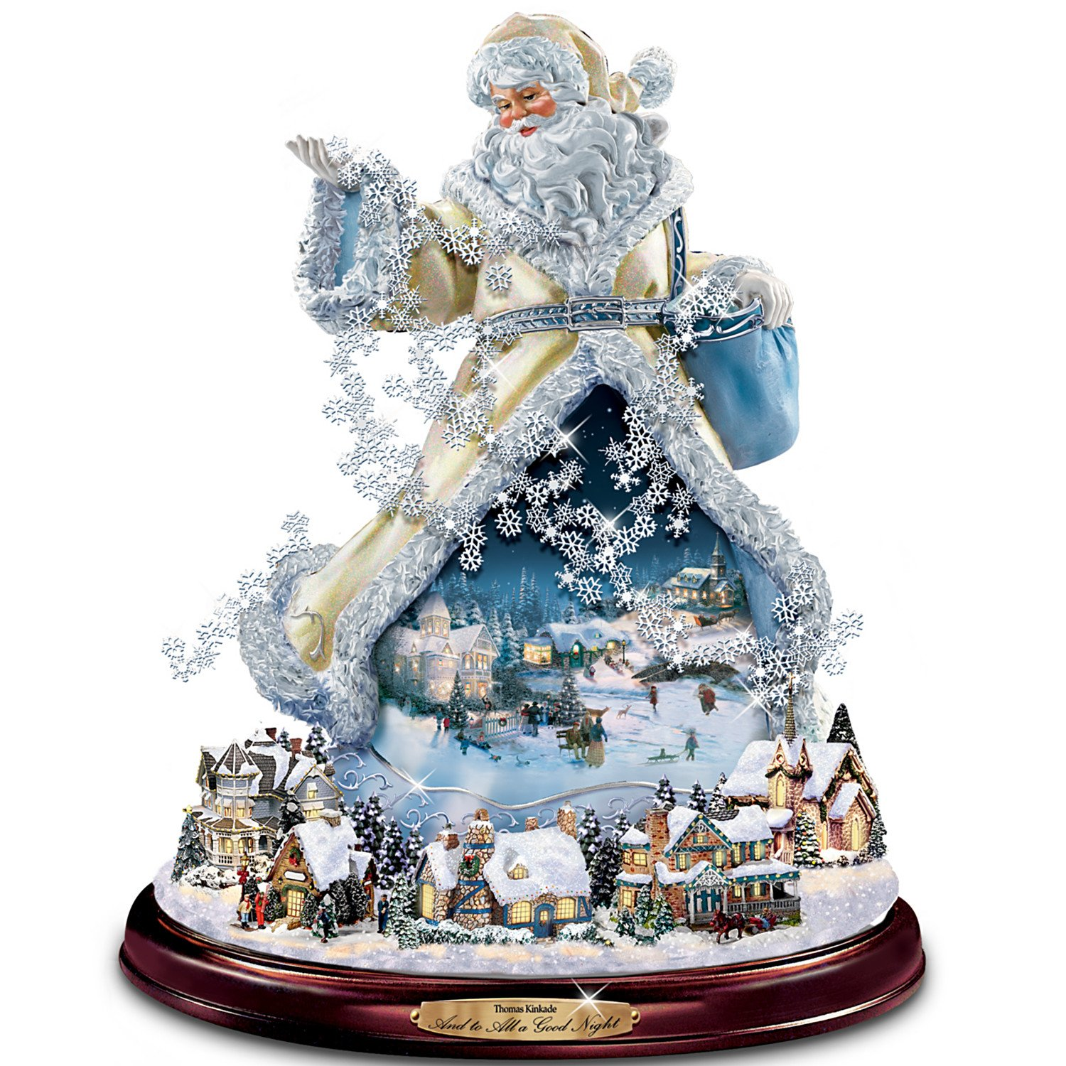 Image of Gorgeous Lighted Musical Thomas Kinkade Santa Claus Christmas Figurine with Village Base