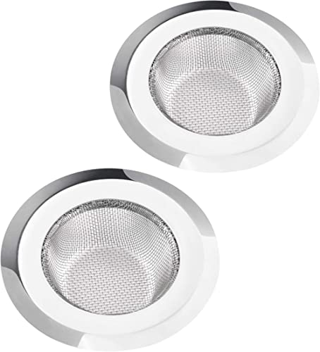 "2 Pack Kitchen Sink Strainer, Large Wide Rim 4.5"" Diameter, Stainless Steel Mesh Drain Strainer, Anti Clogging Hair D..."