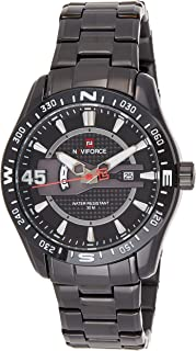 Naviforce Men's Black Dial Stainless Steel Analogue Classic Watch - NF9157-BB