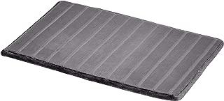 AmazonBasics Striped Memory Foam Bath Mat - Large, Grey