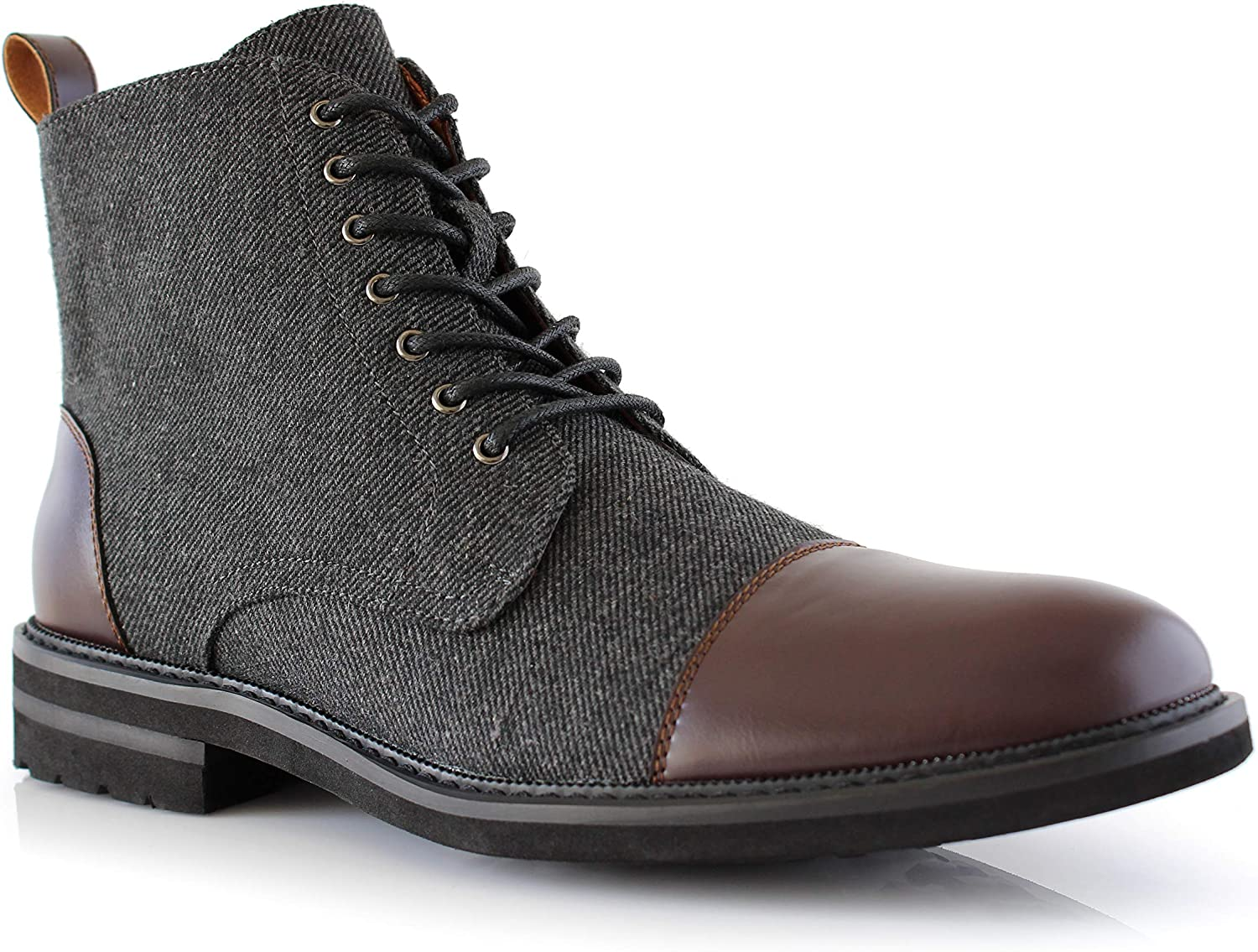 Polar Fox OFFicial store Milwaukee Mall Brooke MPX806061 Grey and Leather Fashi Woolen Lace-up