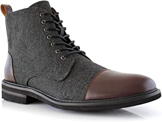 Polar Fox Brooke MPX806061 Grey Woolen and Leather Lace-up Fashion Chukka Boots with Zipper Closure