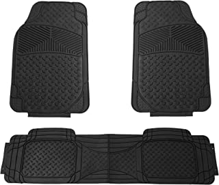 FH Group F11307 Semi Custom Trimmable Heavy Duty Rubber Floor Mats Front & Rear - Black 3pc Set-Fit Most Car, Truck, SUV, or Van