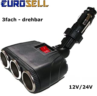 Eurosell 12/24 Volt Zigarettenanzünder Buchse Y 3er Weiche Verteiler Stecker KFZ Auto LKW   beweglicher Winkelstecker Winkel Stecker Steckdosen
