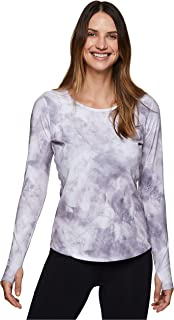 RBX Active Women's Long Sleeve Striped 2-fer Back Top