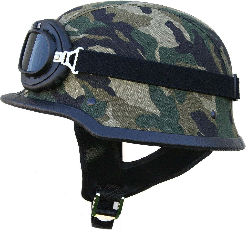 Ato Helme Whg Oldtimer Motorradhelm Mit Fliegerbrille Wehrmachtshelm Camouflage Oder Schwarz Matt Auto