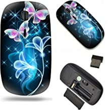 Unique Pattern Optical Mice Mobile Wireless Mouse 2.4G Portable for Notebook, PC, Laptop, Computer - Butterfly and Flower ...