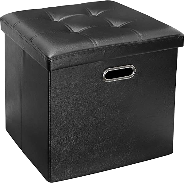 Greenco Faux Leather Tufted Ottoman Stool Seat And Foot Rest Collapsible Versatile Storage Box Black