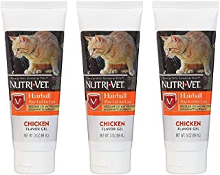 Nutri-Vet 3 Pack of Hairball Paw-Gel for Cats, 3 Ounces Each, Chicken Flavor