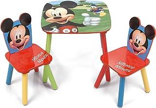 ARDITEX WD12899 Set de Mesa (50x50x44cm) y 2 Sillas (26.5x26.5x50cm) de Madera de Disney-Mickey