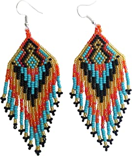 Tribal Handmade beaded Multi colored Seed bead Earrings E16/49