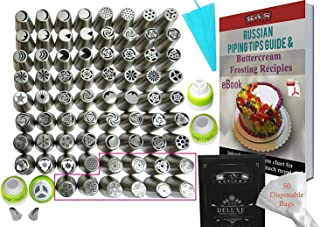 K&S Artisan Russian Piping Tips Set 127 pcs Cake Decoration tips For Cupcake Decorating Supplies 70 GENUINE Large Piping Icing Tips 4 Couplers 2 Leaf Tip 50 Frosting Bags & Silicone Bag + Storage Case