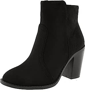 TOP Moda Women's Western Almond Toe Chunky Stacked Block Heel Ankle Bootie (8 B(M) US, Black)