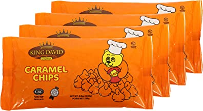 King David Vegan Caramel Chips Non-dairy Lactose Free Kosher 250-gram Bags (Pack of 4)