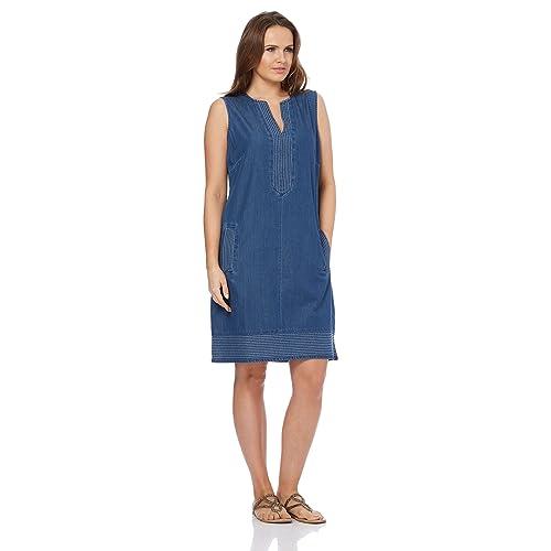 6bde4a1c67 Roman Originals Women Shift Denim Dress - Ladies V-Neck Sleeveless Knee  Length Daytime 100