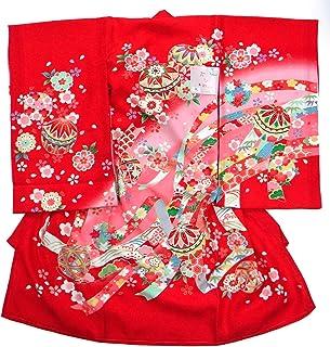 祝着 正絹一つ身着物 女児用 花柄 赤 のしめ お宮参り 産着 日本製