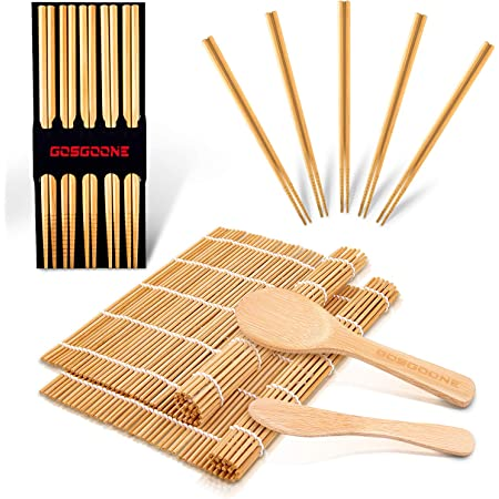9PCS Premium Sushi Making Kit, Thicken Bamboo Sushi Mat, Including 2 Sushi Roller, 5 Pairs of Reusable Chopsticks, 1 Paddle, 1 Spreader, Sushi Maker Kit Set Ideal for Beginners and Kids by GOSGOONE