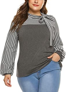 Plus Size Blouses for Women Tie-Bow Neck Striped Blouse Long Sleeve Shirt Splicing Office Work Shirts Tops