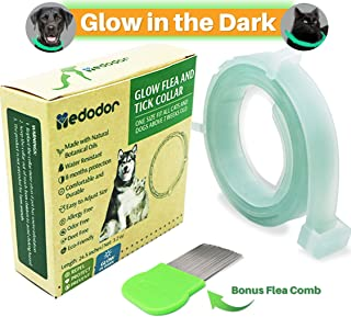MEDODOR Flea and Tick Collar for Small and Large Dogs | 8-Month Tick and Flea Control for Dogs 100% Natural Ingredients | Glow in The Dark Waterproof & Long Lasting