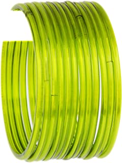 JD'Z Collection Indian Glass Bangle Set For Girls & Women Traditional Bollywood Fashion Jewelry Glass Bangles for Dailywear,Ethnic Wear Bangles Set of 12 (Light Green 2.8)