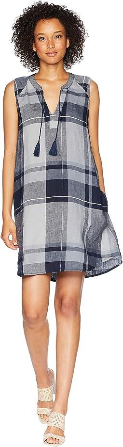 Linen Plaid Pullover Swingy Tank Dress