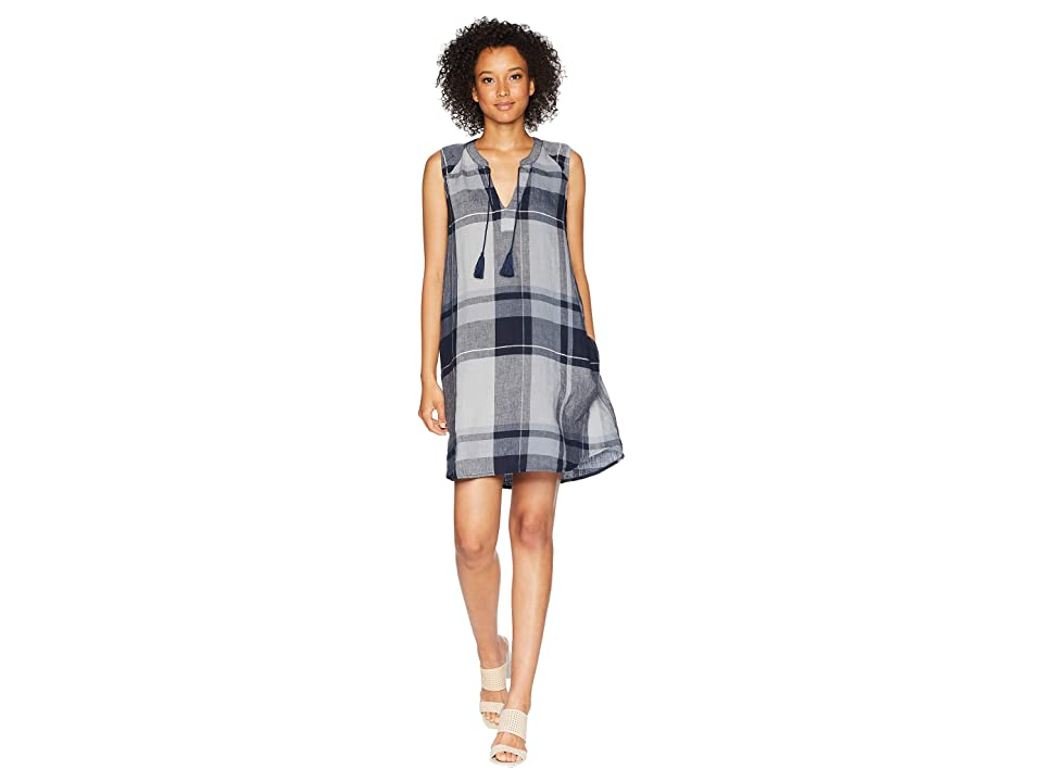 Mod-o-doc Linen Plaid Pullover Swingy Tank Dress (Navy) Women