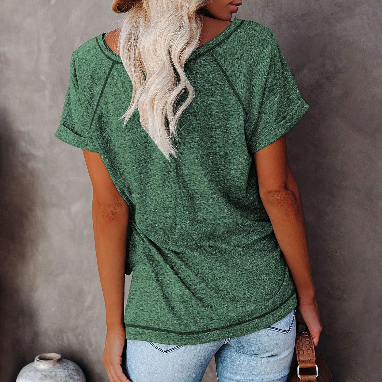 Cysincos Women's Short Sleeve Tunic Tops Casual Loose Crew Neck Side Split T-Shirts