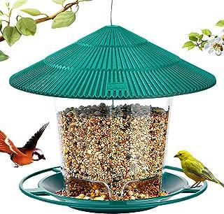 Hanizi Wild Bird Feeder, Panoramic Hanging Bird Feeder for Outside, Premium Plastic Green, Garden Decoration Yard