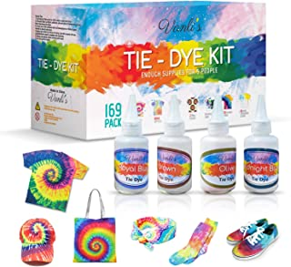 Tie Dye Kit for Kids and Adults. 26 Colors for DIY Fabric Dye Projects. 169 Pack Party Tie Die Supplies with Aprons, Gloves, Rubber Bands and Plastic Table Covers