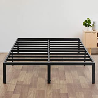 Olee Sleep 14 Inch Heavy Duty Steel Slat/ Anti-slip Support/ Easy Assembly/ Mattress Foundation/ Bed Frame/ Maximum Storage/ Noise Free, Black, Queen