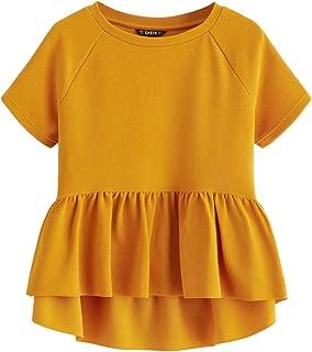 SheIn Women's Cute Short Sleeve Ruffle High Low Hem Smock Peplum Blouse Top