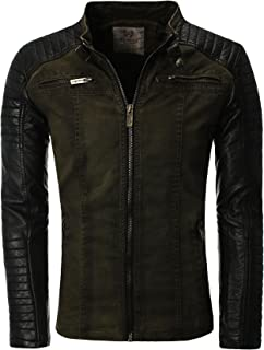 Men's Jacket with Lederärmeln Faux Leather Biker Jacket