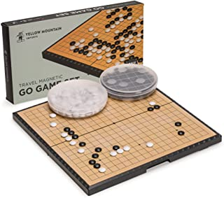Yellow Mountain Imports Medium Magnetic 19x19 Go Game Set Board (11-Inch) with Single Convex Stones