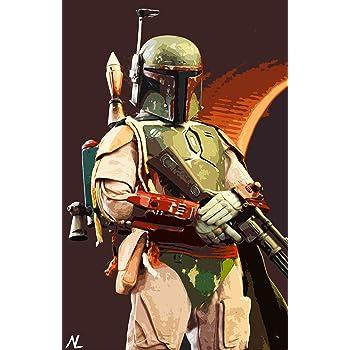 New Canvas Embellished Print//Original Artwork Star Wars the Bounty Hunter XL