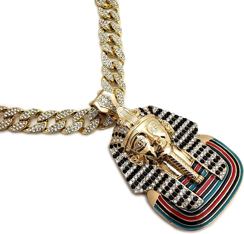 BLINGFACTORY Hip Hop Large Egyptian Pharaoh Pendant & 15mm 18